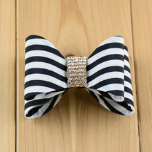 Rhinestone Center Double Layered Striped DIY Bows 7cm PVC Hair Bow without Clips,making Bow Hairbands Headbands