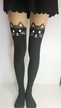 New Arrive Summer Women Fashion Black White Cat Hello Kitty Stockings Velvet High Patchwork Pantyhose Sexy Tights