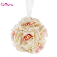 5pcs Artificial Silk Flower Balls for Wedding Decoration 15CM Rose Wedding Ball Hanging Flower Ball Event Party Supplies