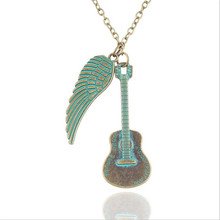 Romantic Green Angel Wing Guitar Necklace Women Pendant Necklaces for Women Sweater Neckless Jewelry
