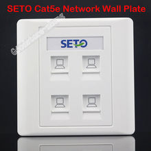 SETO Wall Socket Plate 4 Ports RJ45 Cat5e Cat5 LAN Network Jack Panel Faceplate Outlet Standard Size 86mm Home Plug Wholesale