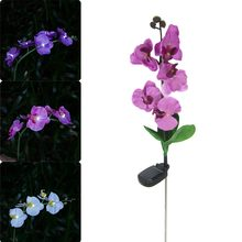 Solar Power Fake Flower Butterfly Orchid Garden Stake Landscape Lamp Outdoor Yard LED Light Hogard(China)