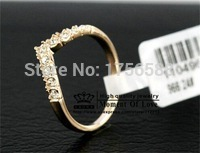 new fashion jewelry gold Color sophisticated heart ring for women ladie wholesale crystal shop free shipping(China)