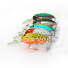 Crank Bait Fishing Tackle Artificial Hard Lure Wobbler Bass Tilapia Rocking Fish Lures Lot 5 Pierces Free Shipping(China)