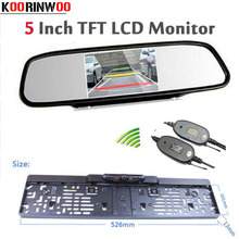 Parking Assist 5 Inch LCD Auto Mirror Monitor For Car Wireless infrared Europe License Plate Frame Rearview Night Vision Camera