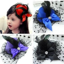 1 pcs Lady Mini Feather Rose Top Hats Cap Lace Fascinator Hair Clip Costume Hair Band Accessories(China)