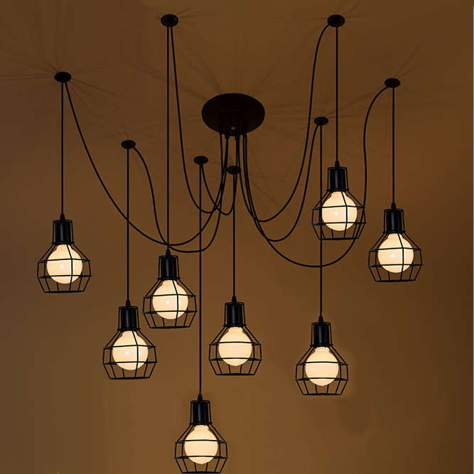 Free shipping spider pendant lights vintage style small iron cages 1/6/9/12 heads hanging light lamps/E27 lamp base black<br><br>Aliexpress