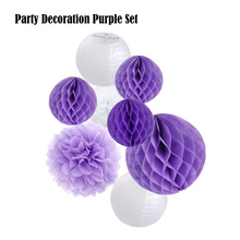 8pcs Pink/Blue/Purple Set Wedding Series Paper Crafts Round Lanterns Tissue Pom Pom Kids Birthday Hanging Decor Party Supplier