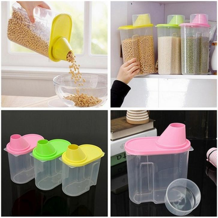 New 1.9L Creative Plastic Kitchen Food Cereal Grain Bean Rice Storage Container Box 3Colors(China (Mainland))