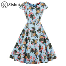 Sishot women vintage dresses 2017 summer light blue plant print v neck short sleeve cute pineapple v neck mid calf retro dress(China)