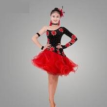 2017 Adulte Enfants Robe De Danse Latine Femmes Filles Lady Cha Cha Rumba  Samba Tango salle de bal De Danse Jupe Robe De Baile L.. 21a670cdb9c