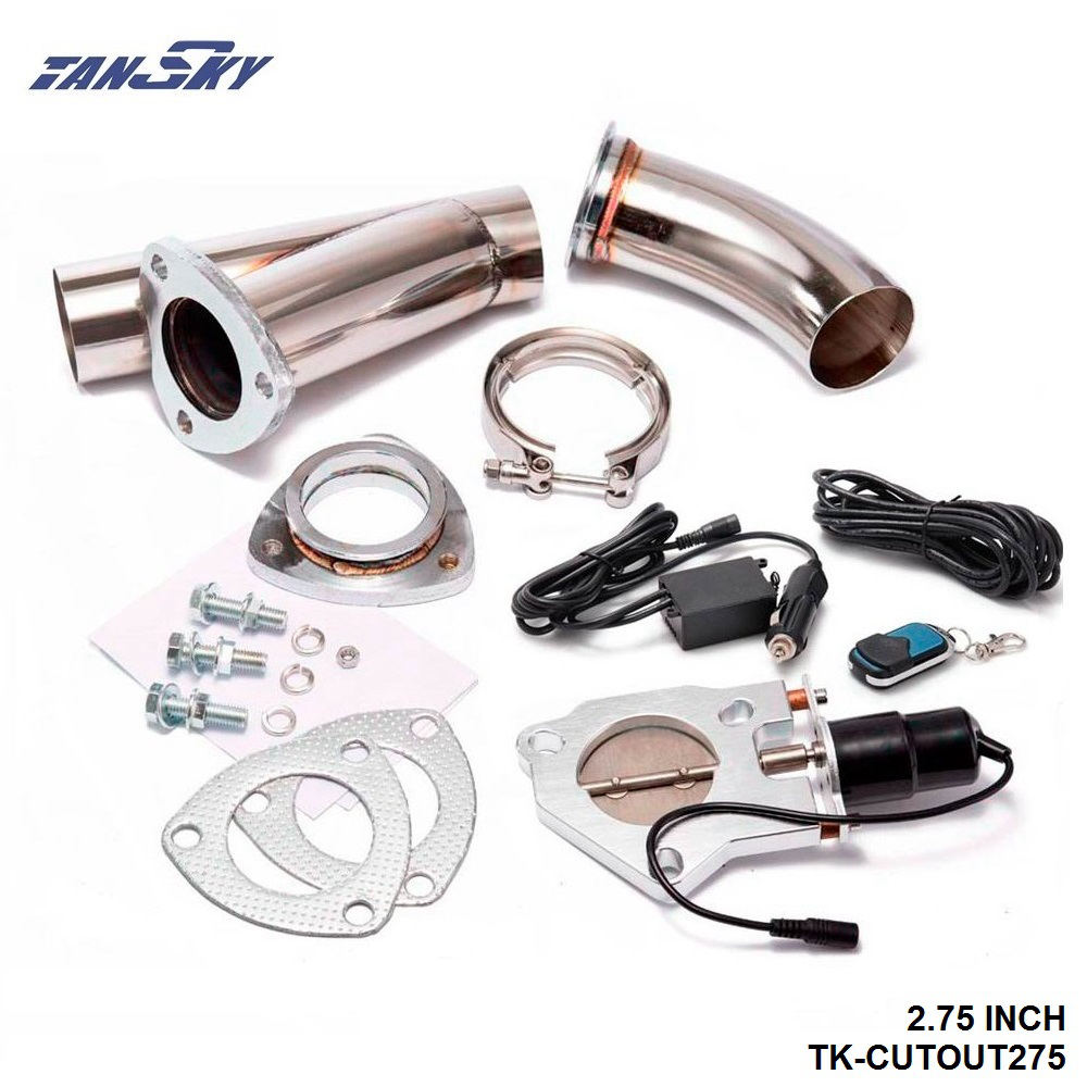 TANSKY- Electric Exhaust DUMPS Cutout Stainless Steel Cutouts 2.75 inch+Piping+Switch For Mustang GT V8/05-10 GT500 TK-CUTOUT275