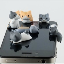 1pcs Cute Cheese Cats 3.5mm Anti dust Dirt-resistant Earphone Jack Plug Adapter to Phone Stopper Cap for Iphone 5 5s 5c Top Sale