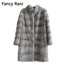 Coat Fur Jacket Mink-Fur-Coat Customized Adjustable Natural Long Winter Women Real New