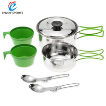 High Quality Stainless Steel Cook Set Backpacking Cooking Picnic Bowl Pot Set Outdoor Camping Hiking Cookware Set