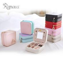 Romacci Mini PU Jewelry Box Basket Jewelry Packaging Display Case Gift Travel Portable Zippered Storage Organizer With Mirror(China)