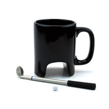 New Funny Golf Game Coffee Mug with Long Spoon Golf Ball Ceramic Milk Water Mug Drinking Bottle Play Stick Pen Juice Coffee Mug