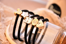 10pcs 10style 55mm Gold Plated Black Elastic Ponytail Holders Hair Accessories For Girl Women Rubber Band Tie Gum (Mix Style)(China)