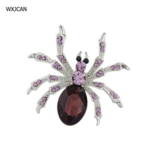 WXJCAN Vivid silver color metal inlaid purple crystal glass rhinestone spider brooches pins and brooches Hijab pins B5063(China)