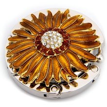 ASDS Round Metal Folding Rhinestone Flower Handbag Bag Purse Table Hook Hanger Holder