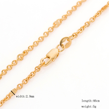 DrBonham never fading women 18KGF gold color solid stainless steel thin 3mm 46cm 5g rolo link chain chokers pendant necklace