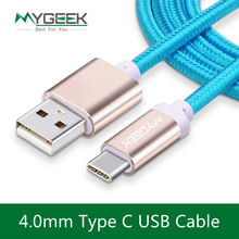 MyGeek 4.0mm Nylon USB Type C Cable usb type-c cables for xiaomi mi5 Oneplus LG Nexus 5x huawei samsung letv usb type c wire