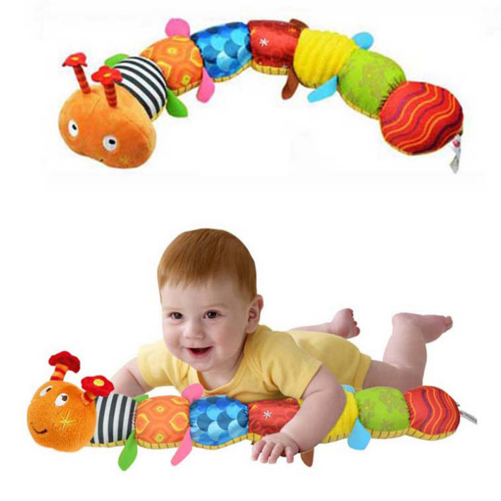 Baby Toy Musical Caterpillar Rattle with Ring Bell Cute Cartoon Animal Plush Doll Early Educational(China (Mainland))