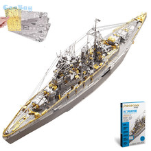 "Piececool 2017 Newest 3D Metal Puzzles of ""NAGATO CLASS BATTLESHIP"" 3D Model Kits DIY Funny Gifts for Kids Toys Home Ornaments(China)"
