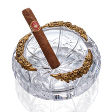 High-definition Three Holder Transparent Pattern Austrian Crystal Glass Cigar Ashtray W/ Gift Box(China)