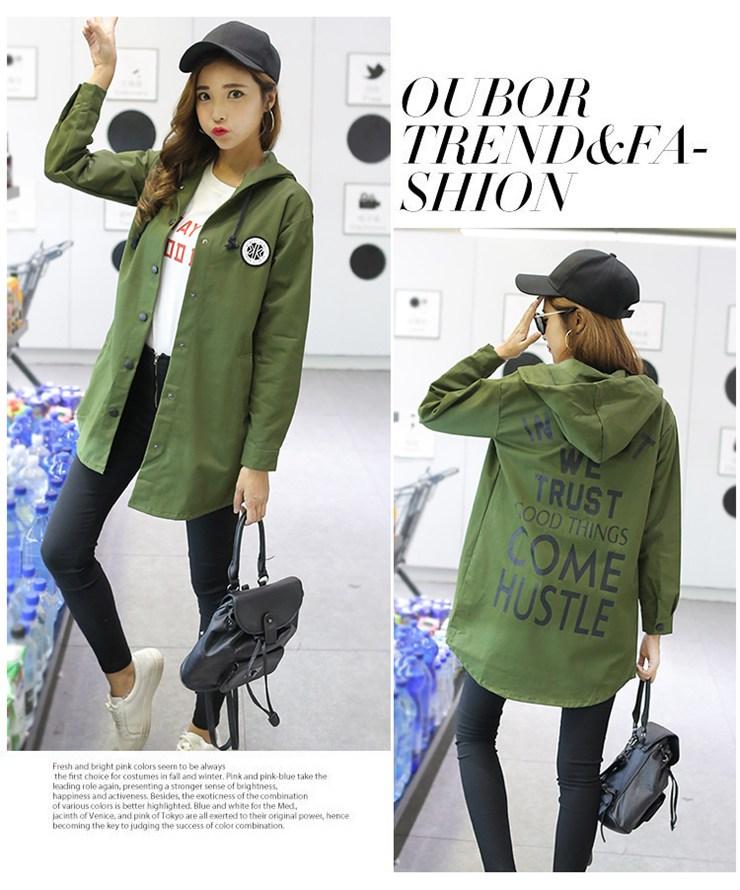 Jackets Women 2019 New Winter Fall Women\`s Basic Jacket Letter Print Coats Outwear Windbreaker Jacket Hooded Chaquetas Mujer (10)