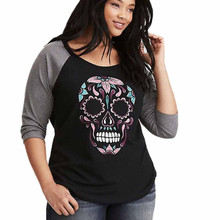 Plus Size Women Skull Printed T-Shirt Autumn Girls Lady Long Sleeve Patchwork Casual Tee Tops Shirts Womens Halloween Clothes #L