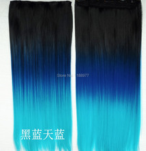 Ombre Hair Extensions Fiber Synthetic Hair Extension Gradient Ombre Three color Clip In Hair Extensions Rainbow Hair