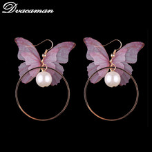 Dvacaman Fashion Careful Butterfly Shaped Earrings Bohemian Animal Charm Simulated Pearls stud Earrings For Women Wholesale 6191