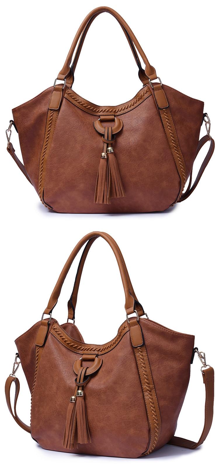 NIGEDU Leather Casual Tassel Handbag Large Famous Brands Designers Pu Leather Handbags Women Big Tote Bags Female Messenger Bags Bolsos Blue (9)