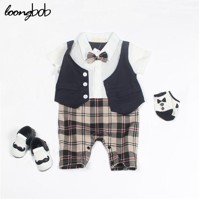 Baby Boy Romper Baby Clothes College Waistcoat Bebes Infant Gentleman Romper Toddler Jumpsuit Costume Newborn Clothing Outfits<br><br>Aliexpress