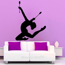 Aiwall Girl Gymnast Clubs Fitness Gym Wall Art Sticker Decal Home DIY Decoration Decor Wall Mural Removable Room Decal Stickers