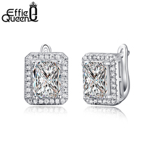 Effie Queen New Arrival 1.8 ct Rectangle Cubic Zirconia Earring Stud For Women Best Christmas Earring Gift 3 Colors Choices DE95(China)