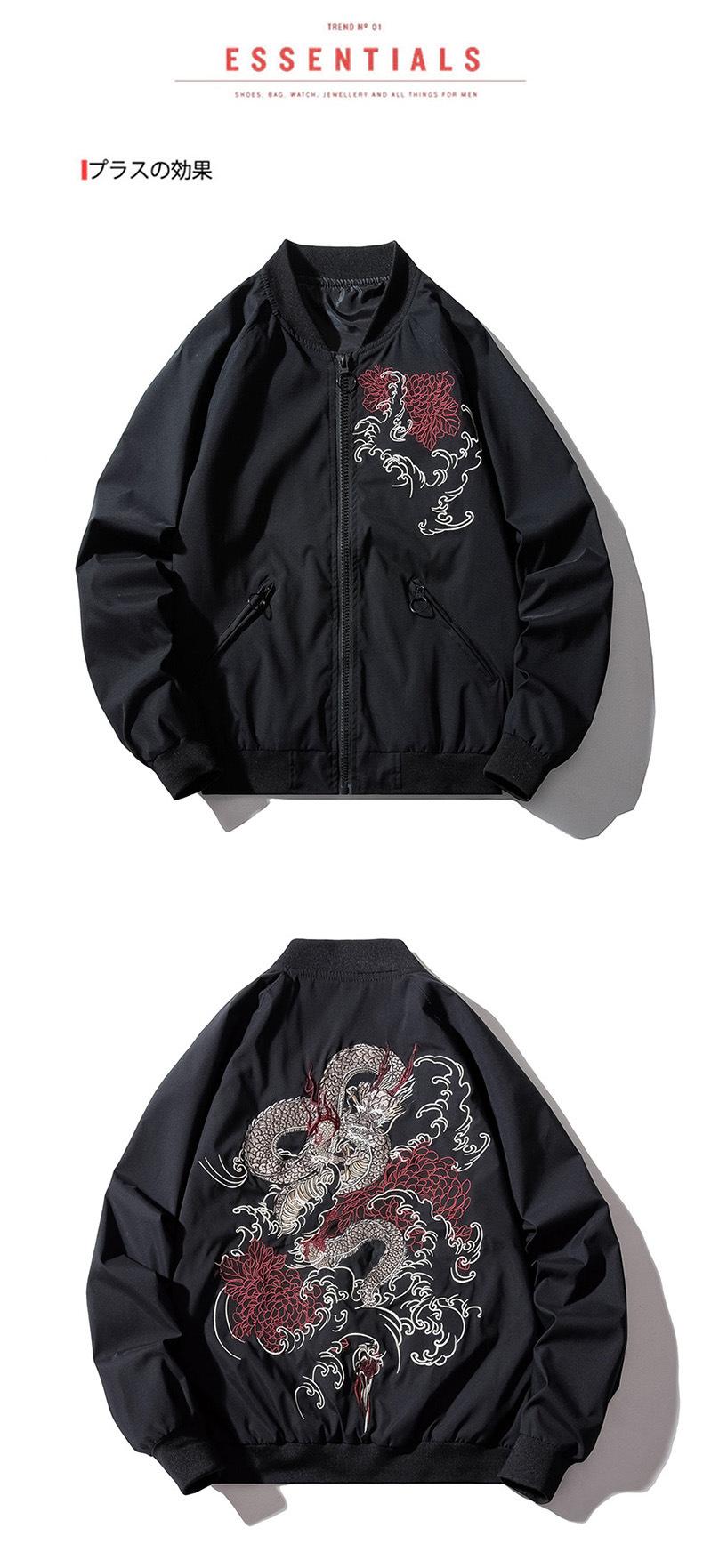 hjkg Bomberjacke,Chinesischer Drache Stickerei Pilot Retro Punk Hip Hop Jugend High Street Hipster Bequem Warm Windbreak Streetwear M/äntel Outwear Frauen M/änner Unisex