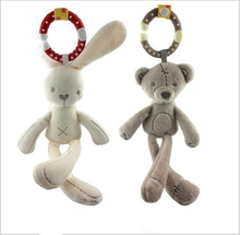 Bear Rabbit Cute Handbell Plush Rattles Baby Toys Wind Chime Animal Squeaker Sounder Newborn Baby Educational Tools Teether Doll(China)