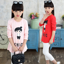 2017 spring fall hot children's cotton T-shirt 4-11-year-old cartoon printing girl girl sweater children's bottoming shirt