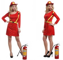 Women Adult Fireman Dress Up Female Halloween Truckman Costume Dress+Hat+Belt Party Performance Clothes Chorus Stage Clothes 18(China)