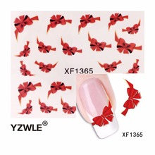 YZWLE Fancy Red Butterfly Tie Sweets Casual Nail Decals Stickers Water Mark Beauty Decorations Foils French Tips Tool