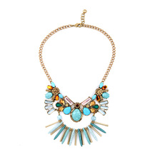 2016 Hot Selling Jeweled Turquoise Statement Necklaces Gold Fashion Women Boutique Spring Jewelry Factory Wholesale N3071