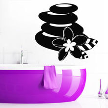 Lotus Flower Spa Stones Beauty Salon Bathroom Wall Decal Home Decor(China)