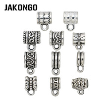JAKONGO 20pcs Tibetan Silver Plated Bails European Beads for Making Bracelet and Necklace Charms Connectors for Jewelry Making