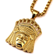 High Quality Stainless Steel Indian Chief Pendant Necklace  Real Yellow Filled Round Box Necklace Iced Out Hip Hop Jewelry