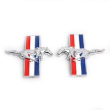 2 x 3D Alloy Metal Chrome Running Horse Emblem Side Fender Badge Styling Sticker Fit for Ford Mustang