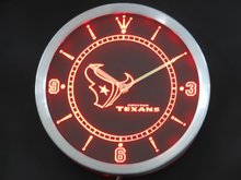 nc0525 Houston Texans Neon Sign LED Wall Clock(China)