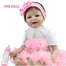 NPKDOLL 22 inch Silicone Reborn Babies Dolls Brinquedos Dolls For Girls Vinyl Realistic Doll Reborn Kids Christmas Gifts Toys(China)