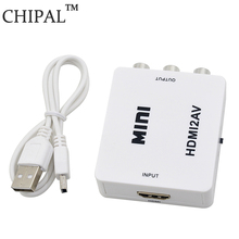 CHIPAL 1080P 1080I For HDMI2AV Converter Mini HD Audio Video Box for HDMI to AV RCA CVBS L/R Adapter Support NTSC PAL USB Power